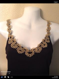Beaded Tatted Applique on a top (pic only) #tatting #garment)