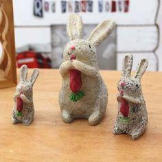 可多杂货  zakka 温馨森林 小兔一家三件套 树脂小动物摆件的图片