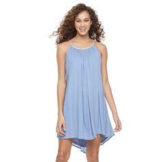 Women's Nina Leonard Gauze Shift Dress, Size: Medium, Blue