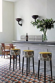 Those stools but I would choise another colour upholstery for the seat.