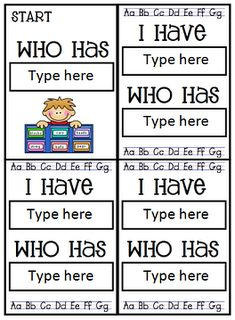 "make your own ""I have...Who has?"" cards"