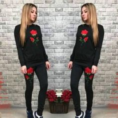 New Women Black Flowers Embroidery 2-in-1 Drawstring Waist Casual Long Jumpsuit