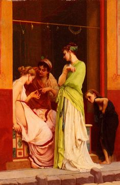 Une Marchande De Bijoux A Pompeii by Gustave Clarence Rodolphe Boulanger (A Seller of Jewels in Pompeii), Oil on panel