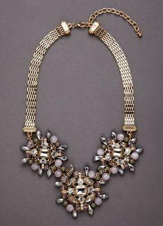 Triple Beaded Rhinestone Necklace