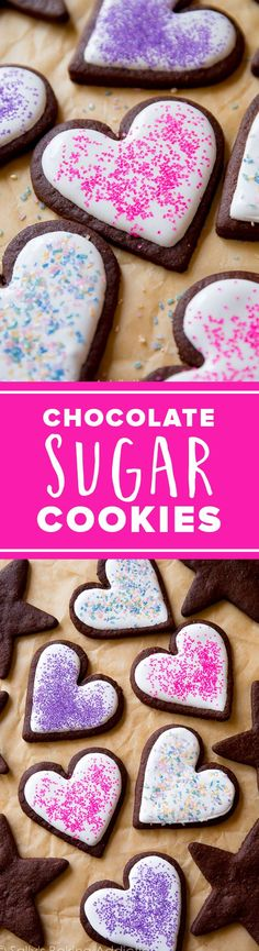How to make these chocolate sugar cookies for Valentine's Day. These are the best soft chocolate sugar cookies you will ever make! It's an easy recipe and they are so fun to decorate! Chocolate Sugar Cookie Recipe, Sugar Cookie Icing, Sugar Cookies Recipe, Chocolate Flavors, Cookie Recipes, Cocoa Chocolate, Chocolate Cookies, Köstliche Desserts, Delicious Desserts