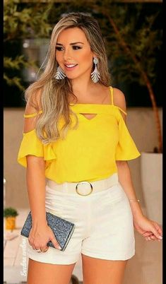 Blusas que me are Casual Summer Outfits, Girly Outfits, Cute Outfits, Fashionable Outfits, Summer Clothes, Pretty Outfits, Casual Chic, Casual Wear, Yellow Blouse