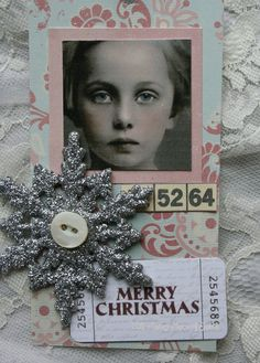 Sparkling Snowflake tag with Paper Whimsy face