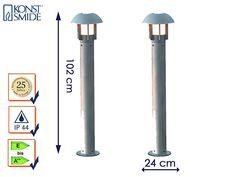 Konstsmide Lot de 2Lampadaire/Lampe brique Heimdal, hauteur 102cm, aluminium argent/Verre opale, E27, 512–312
