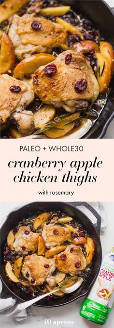 paleo cranberry apple chicken thighs with rosemary whole30