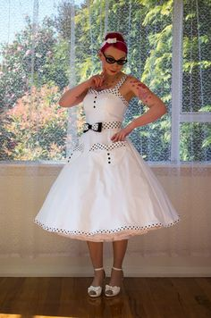 1950s Rockabilly Elise Wedding Dress, with Sweetheart Neckline, Polka Dot Trim, Belt & Organza Petticoat- Any Colour - Custom Made to fit