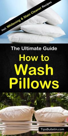 How to wash pillows - including tips on washing by hand and in the washing machine (front and top loader), whitening yellow pillows, cleaning those sweat stains pillows using baking soda, hydrogen peroxide, vinegar or bleach. Deep Cleaning Tips, House Cleaning Tips, Cleaning Solutions, Spring Cleaning, Cleaning Hacks, Cleaning Checklist, Homemade Toilet Cleaner, Clean Baking Pans, Cleaning Painted Walls