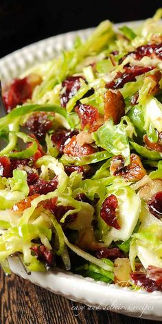 Honey Mustard Brussels Sprout Salad is all about crisp, shredded Brussels sprouts tossed with slightly sweet honey mustard vinaigrette, drie. Vegetable Side Dishes, Vegetable Recipes, Vegetarian Recipes, Cooking Recipes, Healthy Recipes, Vegetable Salad, Pecan Recipes, Thanksgiving Vegetables, Deserts