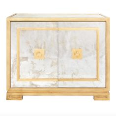 MatthewIzzo.com - Worlds Away Ophelia Antique Mirror & Gold Leaf Cabinet