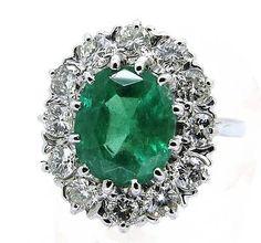 Emerald & Diamond 18Ct White Gold Ring 3.83Ct Size O+1/2
