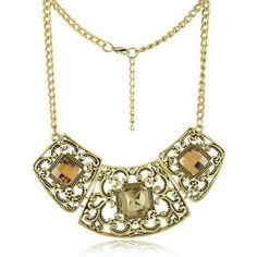 Antique Gold Plated Collar Necklace Jewelry