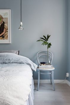 Blue Bedroom Wall – Home Bedroom Blue Bedroom Walls, Home Bedroom, Modern Bedroom, Bedroom Decor, Blue Bedrooms, Bedroom Ideas, Master Bedroom, Monochrome Bedroom, Peaceful Bedroom