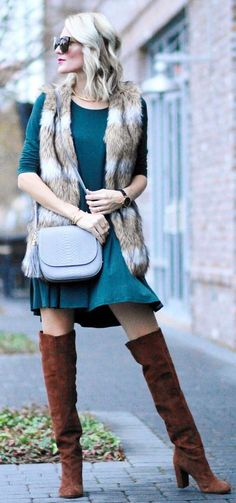 Faux Fur Vest / Turquoise Dress / Brown OTK Boots