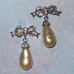 Rhinestone Bow Earrings with Large Costume Pearl Drops