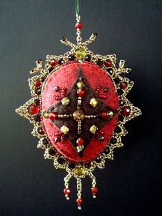 Felt Ornament with Wire Lace by dragonswire on Etsy