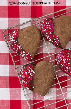 Chocolate Cinnamon Heart Cookies | Perfect for Valentine's Day | On Sutton Place