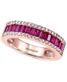 EFFY Ruby (1 ct. t.w.) and Diamond (1/5 ct. t.w.) Ring in 14k Rose Gold   macys.com