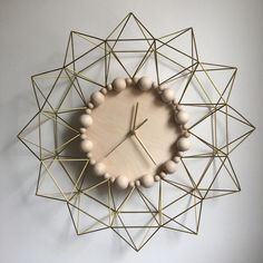 Geometric Himmeli Wall Clock • Brass OR Copper OR Carbon Fibre • Plywood • Natural Wooden Beads by GeoAttic on Etsy