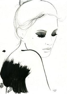 Acuarela y pluma de ilustración de moda por JessicaIllustration