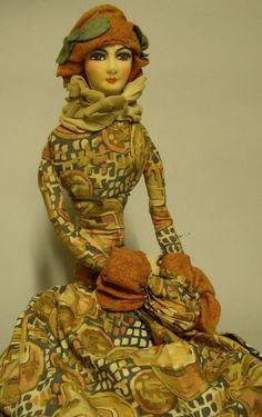 Cloth Art Deco Boudoir Doll, probably France, c.
