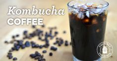 Kombucha Coffee: Brew 2 quarts of coffee, add at room temperature to SCOBY (no starter tea), and brew for 7+ days.  Serve cold or room temperature; heating will kill beneficial probiotics