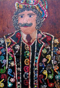 ButtonArtMuseum.com - Mixed Media Painting: Sgt. Pepper's Groupie The Button Man. $1,600.