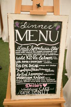 #menus  Photography: Liz Maryann Photography - lizmaryann.com  Read More: http://www.stylemepretty.com/2013/09/26/keswick-virginia-wedding-from-liz-maryann-photography/