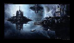 Alien Armada by Bogwoppet on DeviantArt Alien Ship, Alien Invasion, Futuristic City, 3d Studio, Concept Art, Photoshop, Sky, Deviantart, Space Station