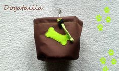 Brown dog treat pouch with a bone motif by DoGATAilla on Etsy