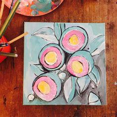 Australian gumnuts painting artwork / waratah canvas original acrylic floral green pink australia art mint native eucalyptus