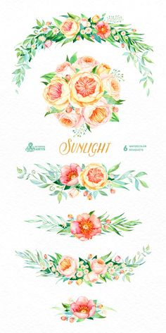 Sunlight: 6 Watercolor Bouquets popies roses by OctopusArtis