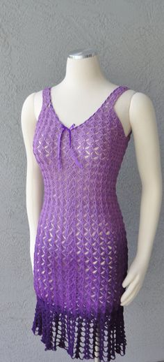 Purple Ombre One Of A Kind Hand Crochet Dress by Chuletindesigns, $130.00