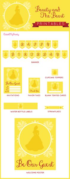 """Free Beauty and the Beast party Printables - including invitations, a """"Happy Birthday"""" banner, tented cards, welcome sign, favor tags, etc. Throw an awesome Beaty and the Beast party for your daughter! 