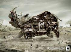WWF: Rhino     Stop criminals making a killing     Help kill the trade that kills at Facebook.com/WWF  Advertising Agency: Ogilvy & Mather, London, UK