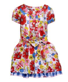 Take a look at this White & Red Floral Bow Dress - Toddler by Cakewalk on #zulily today!