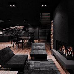 Dream House Interior, Luxury Homes Dream Houses, Dream Home Design, Modern House Design, My Dream Home, Black Interior Design, Dark House, Modern Mansion, Dark Interiors