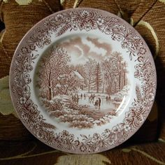 Brown and White Transferware Plate  Woodland Winter Scene Cabin on the Lake with Ice Skaters