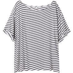 R13 slant stripe tee TR1310SS13 ($93) ❤ liked on Polyvore featuring tops, t-shirts, shirts, t shirt, stripe shirt, striped t shirt, striped top and striped shirt