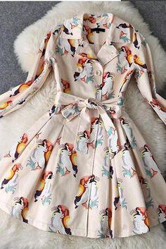 Print Lace-Up Dress