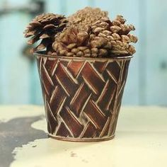 "4.5"" copper weave Decorative Planters, Different Seasons, Floral Supplies, Brushed Metal, Green Flowers, Flower Pots, Weave, Craft Supplies, Copper"