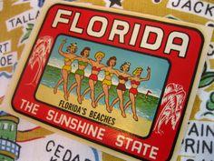 Vintage Florida decal - bathing beauties on Florida beaches - travel decal Florida Sunshine, Sunshine State, Florida Travel, Florida Beaches, Vintage Florida, Travel Souvenirs, Bathing Beauties, Vintage Travel, Kitsch
