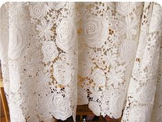 off white Lace Fabrics Qmilch White Embroidered Flowers Solid Hollowed Florals Wedding Bridal Lace Fabrics Supplies Roses Garden Price is for one yard, more buying will be cut into continuous yards . For the quantity, please feel free to convo me for more or less yards.
