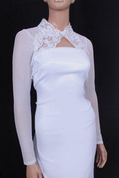 Nupcial blanco óptico encogimiento de hombros de encaje Bolero de la boda chaqueta manga larga Hige cuello Keyhole volver accesorios de la boda en Chaquetas de Boda de Bodas y Eventos en AliExpress.com | Alibaba Group