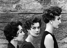 """Variations of the new Italian """"shaggy"""" haircut are labeled by Marcel (hairdresser) from L to R: Bellini, Botticelli (worn by Leonie Vernet) and the Michaelangelo with streaks, photo by Yale Joel, LIFE July 13, 1953"""