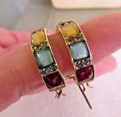 Vintage Liz Claiborne Multi Color Stone & Rhinestone Hoop Gold  Earrings Signed #LizClaiborne #Hoop