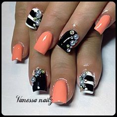 Peach and black and white with gems.